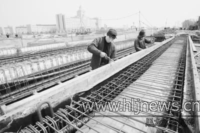 哈市三环路松北段工程完成隐蔽工程图片