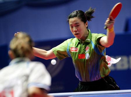图文:女乒中国3-0罗马尼亚 王楠轻取对手