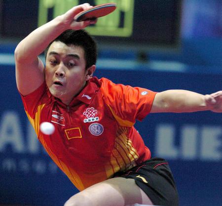 图文:世乒赛男队3-0完胜瑞典 王皓在比赛中