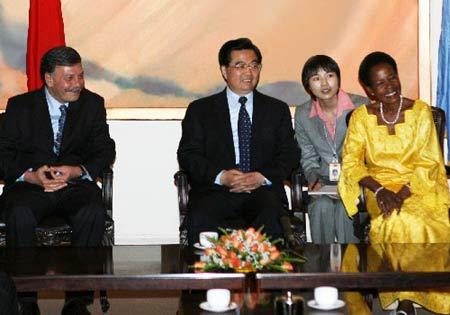 胡锦涛会见联合国人居署和环境署负责人