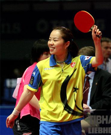 中国 刘伟 空间/2006年4月29日,在德国不来梅举行的第48届世乒赛团体赛女子半...