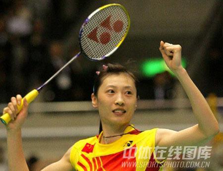 图文:尤伯杯中国获五连冠 张宁获胜庆祝