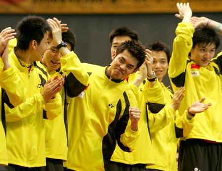 图文:汤杯决赛中国横扫丹麦 球员喜登领奖台