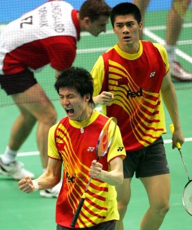 图文:汤杯决赛中国获胜 蔡赟付海峰振臂怒吼