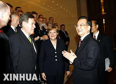 温家宝与默克尔出席第四届中德高技术对话论坛