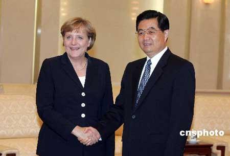 图:胡锦涛会见德国总理默克尔