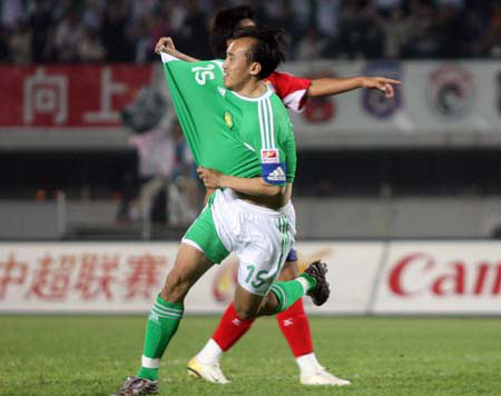 图文:北京国安主场迎战厦门蓝狮 陶伟进球庆祝