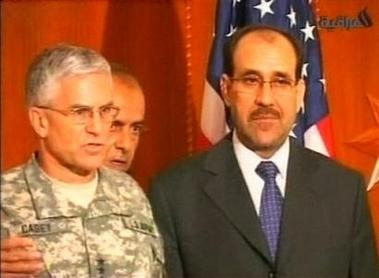 图文:美驻伊最高指挥官在发布会上讲话