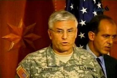图文:美国驻伊最高指挥官在发布会上