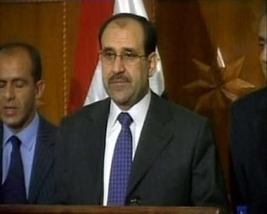 图文:伊拉克总理在新闻发布会上
