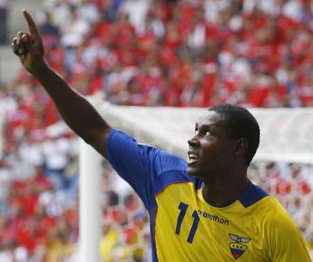 图文:厄瓜多尔VS哥斯达黎加 德尔加多庆祝进球