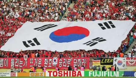 组图:法国VS韩国 看台上的韩国球迷阵营