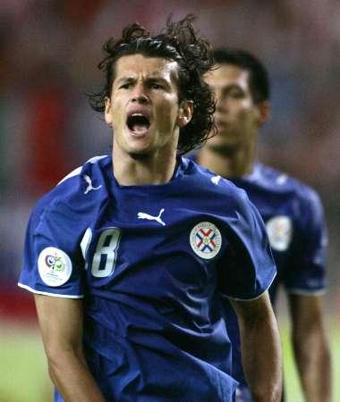 图文:巴拉圭VS特立尼达 巴尔德斯庆祝瞬间