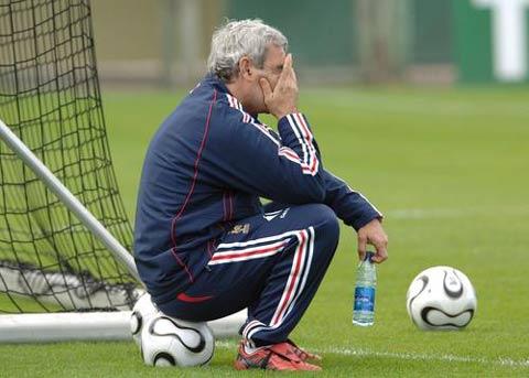 图文:法国备战世界杯 多梅内克忧心忡忡