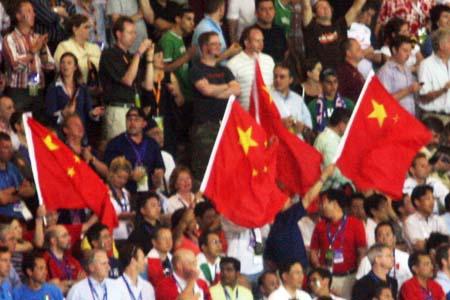 图文:搜狐直击意大利夺冠 看台上的中国球迷