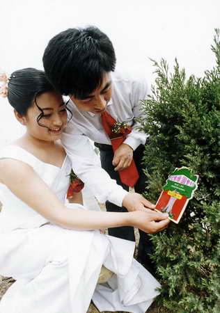 爱情 唐山市/一对新人种下见证爱情的幸福树。来源:唐山市人民政府新闻办公...