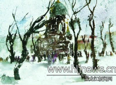 圣·索菲亚教堂的晨冬-张翔得水彩画