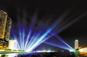 白鹅潭夜景灯光表演今晚开演
