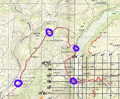 徒步喀纳斯湖等高线图