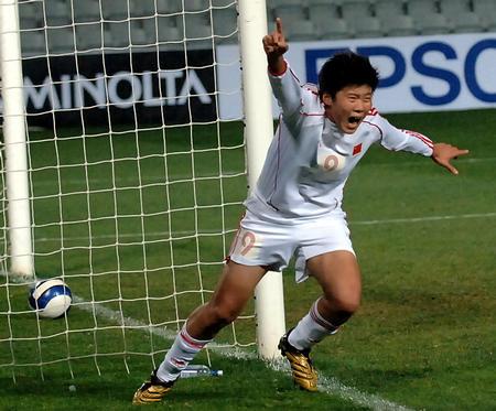 图文:女足亚洲杯中国1-0朝鲜 马晓旭进球欢呼