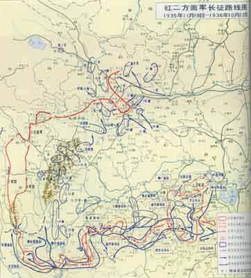 红二方面军长征路线图