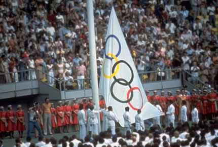 1976年蒙特利尔奥运会开幕式 两位青年共燃圣火