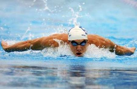 图文:全美游泳锦标赛 菲尔普斯在蝶泳项目中