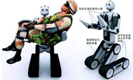 图为vecnabear机器人的设计图及其战场救援演示图.