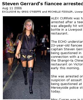 打群架已是家常便饭 杰拉德女友被警方拘捕(图)