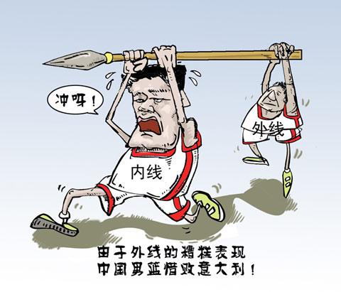 """搜狐世锦赛漫画:中国男篮""""内外结合"""""""