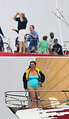 布莱尔夫人泳装秀身材 老公不解风情难入戏(图)