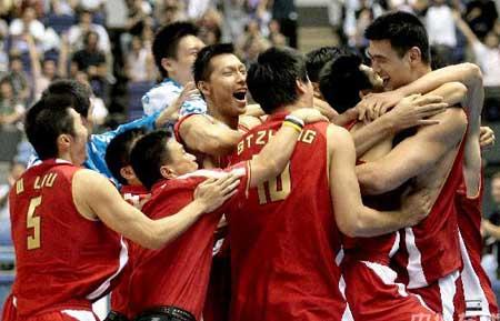世锦赛图:中国VS斯洛文尼亚 中国球员庆祝胜利