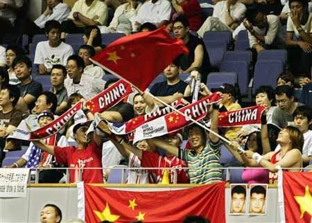 世锦赛图:中国险胜斯洛文尼亚 球迷欢呼胜利