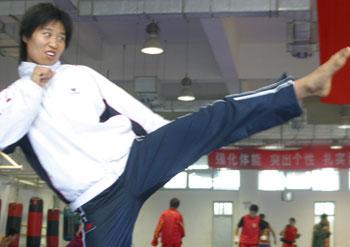 图文:世界杯武术散打赛 中国选手:孙会