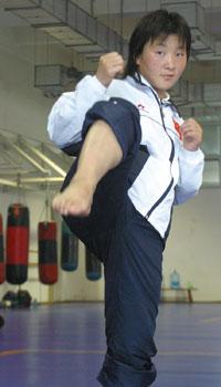 图文:世界杯武术散打赛 中国选手: 张宇洁