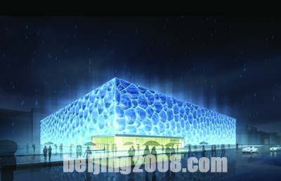 图文:国家游泳中心效果图 游泳馆夜景
