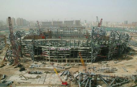 图文:鸟瞰见证鸟巢建设 06年3月10日施工现场
