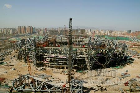 图文:鸟瞰见证鸟巢建设 06年3月22日施工现场