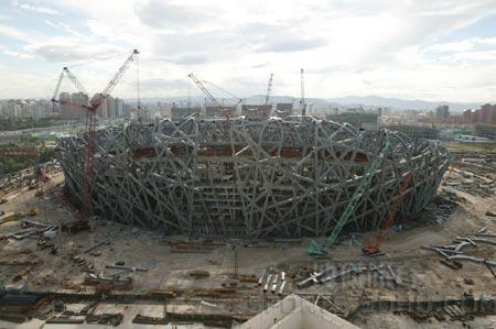 图文:鸟瞰见证鸟巢建设 06年6月10日施工现场