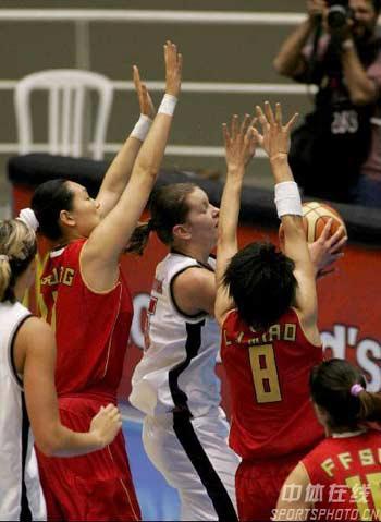 世锦赛图:中国队不敌捷克队 姑娘们篮下铁桶阵
