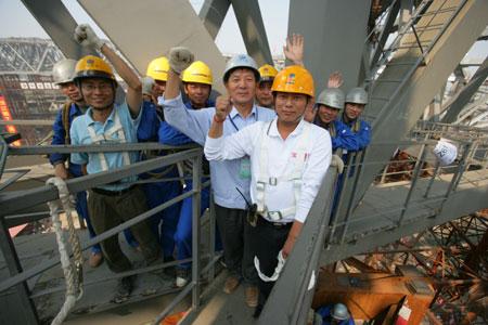 2008主会场 国家体育场钢结构主桁架梁成功卸载