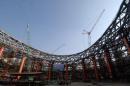 """图文:""""鸟巢""""钢结构卸载完成 钢结构卸载现场"""