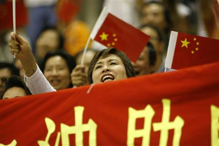 世锦赛图:中国女篮险胜法国 球迷十分热情