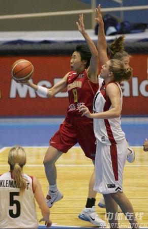世锦赛图:中国女篮不敌加拿大 苗立杰飞龙在天