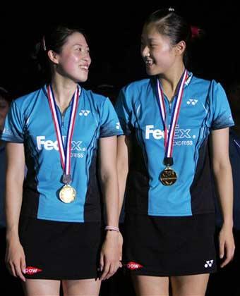 女双决赛2比0胜队友  高��/黄穗力夺世锦赛首金