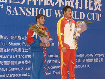 图文:散打世界杯中国11金 杨明明获得冠军