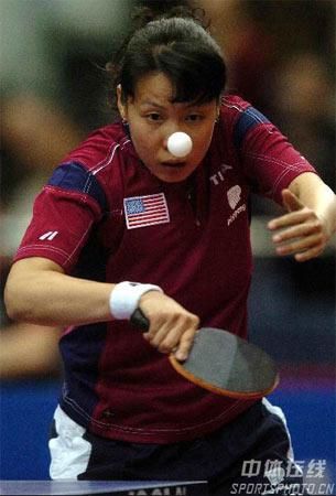 图文:2006女子世乒赛开战 美选手王晨在比赛中