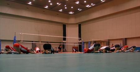 图文:中国女排公开训练课 训练前准备活动