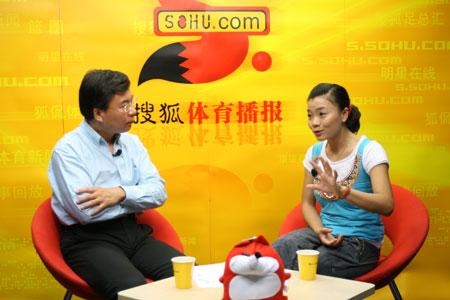 图文:莫慧兰韩乔生做客搜狐体育 聊体操世锦赛