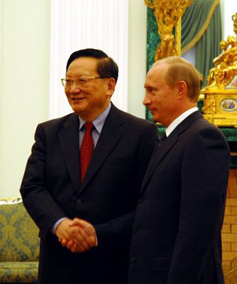俄总统普京会见唐家璇 称期待与胡锦涛会晤(图)